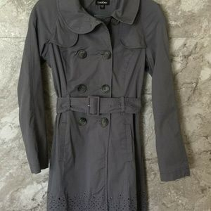 BEBE S Small Grey Women's Belted Trench Long Jacke